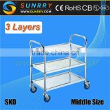 Hot Sell Tainless Steel Serving Cart And 3 Layers Food Service Carts With Wheels                                                                         Quality Choice
