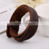 Mens Genuine Leather Wrap Bracelet Fashion Wristband Cuff Bracelet Womens Bangle