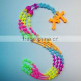 Tie dye colors cross rosary silicone rubber bands necklace