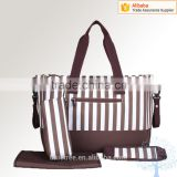 Black and white stripe oxford diaper bag baby bag,bottle changing pad included