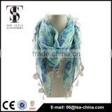 NEW flower Print Blue TASSEL Colorful polyester SPRING towel sarong