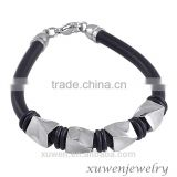 stainless steel charms black rubber bracelets