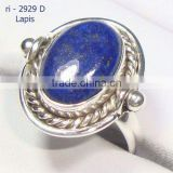 925 Sterling Silver Oval Blue Lapis Single Stone Finger Ring