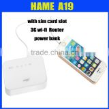 Hame A19 new model 3G wi-fi router with power bank hame a19,a18w