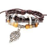 Europe and the United States antique Bracelet Personality leaf Rope bangles ,wholesale Wrap Braided charm Bracelet
