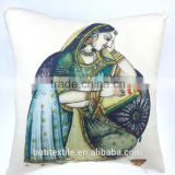 Indian pillow cover Rajasthani Traditional lady Painting Design Pillow Decorative Throw pillow