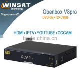V8 pro dvb-s2/t2/c decoder digital satellite TV receiver support free IPTV,CCCAM,NEWCAMD cline account,youutube youporn