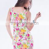 Front zipper fashion and elegant lady party wear mini sexy dress patterns