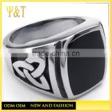China factory celtic knot black enamel biker rings,wholesale celtic jewelry manufacture (HF-001)