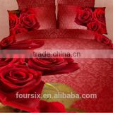 100% cotton reactive printed panel 3D design high quality brushed fabric bedding sets for wedding