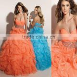 2012 sweetheart beaded ruffled organza custom-made christmas formal ball gown CWFab3656