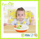 BPA Free Injection Hot Water Food Warming Bowl Plate with Sucker, Children Baby Feeding Bowl Plate