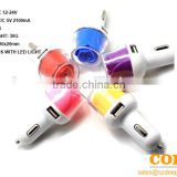 F2 two USB port car charger,2 port car charger,cheap car usb charger,Rose flower car charger
