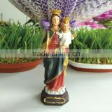 Resin colorful hand paint virgin mary and baby jesus figurine