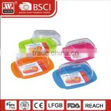 BPA free plastic bread server butter dish with transparent lid