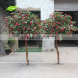 GNW BLS052 Artificial Fake Rose Tree Nature Wood Stand Customized Size For Wedding
