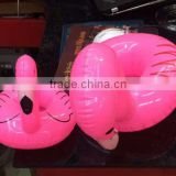 5170628-4 big pink flamingo shape inflatable cup holder to keep cup on the swimming pool