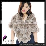 CX-B-105F Cute Style In-stock Rex Rabbit Fur Knitted Shawl