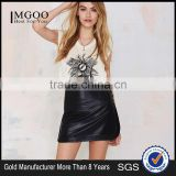 MGOO Top Sale Fashion Women Faux Leather Skirt Black Plain Mini Skirts With Buttons A Line 15144A380