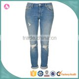 Women acid wash detailed ripped out ladies jeans denim jeans top design pant trousers
