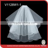 V1128W1-1Newest Design Wedding Bridal Veil with beads and pearls
