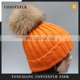 High quality natural color raccoon fur pom pom hats fur bobble hats for women