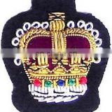 embroidery crown skull patch badge Pakistan high quality cheap custom uniform blazer badges
