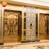 Gold 6K Treatment 2m Length Hotel KTV Mall Use Stainless Steel Sheet Elevator Door Supplier