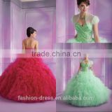 Luxury Ruffle Tulle Skirt Beaded Crystal Bodice 2014 Quinceanera Dresses