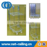 Warehouse folding metal three side roll container