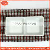 rectangular divided plate two part porcelain dish or plate for seasoning oil juice or soy sauce