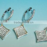 Sterling Silver Jewelry, Fashion Jewelry Set Exquisite Shiny Cz Crystal 925 Sterling Silver Jewelry PT90100