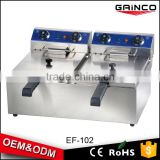 fast food kitchen equipment stainless steel electric deep fryer with 2 baskets 10L 2 tanks EF-102
