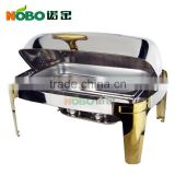Brass holder stainless steel roll top chafing dish/roll top chafer with 2 pan                                                                         Quality Choice