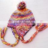 fashion ear flap acrylic hat with pompon