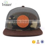 High quality low MOQ leather patch cotton snapback hat cap                                                                                                         Supplier's Choice