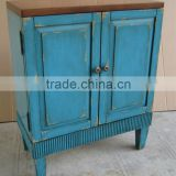 Stocklots furniture Hand painted two doors blue cabinet with Two Tone,antique solid wooden living room cabinet