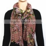 Hollow Design Flower Print Wool Scarf