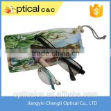 cheap digital printed micro fiber double drawstring eye glass pouch                                                                         Quality Choice