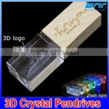 Crystal USB Flash Drive with 3D Logo Laser Printing USB 2.0 4GB 8GB 16GB 32GB Memory Stick Pen Drive Gift box                                                                         Quality Choice