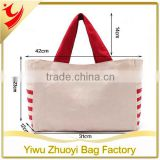 High Quality Red and Beige Canvas Material Shopping Tote Bag Eco-friendly to Environment