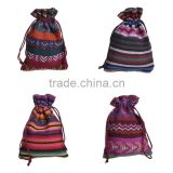 newest stripe colorful cotton drawstring pouch tribal style small jewelry drawstring bag