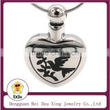 Trend Pet Memorial Cremation Jewelry Wholesales Cute Animal Peace Dove Always In My Heart Stainless Steel Cremation Urn Pendant