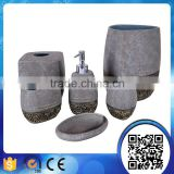 Wholesale elegant gray stone effect bathroom accessories set with gold painting                                                                                                         Supplier's Choice