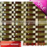 Brown glass mix marble mosaic kitchen splashbacks glass mosaic wall tiles factory HG-84016