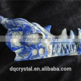 fine delicate light blue lapis lazuli crystal mysterious dragon head sculpture for decoration or gift