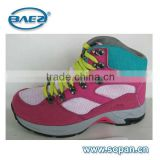 good quality fuxia cow leather with fur lining women hiking shoes