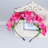 Bulk cheap cute hair accessories, kawaii light rose pink fabric frilly flower headbands for girls