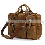 High Quality Drop Shipping Top Grade Multifunctional Fashion Vintage Larger Mens Crazy Horse Leather Travel Bag