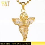 Wholesale hip hop iced out angel jewelry gold plated crystal angel baby pendant necklace for women